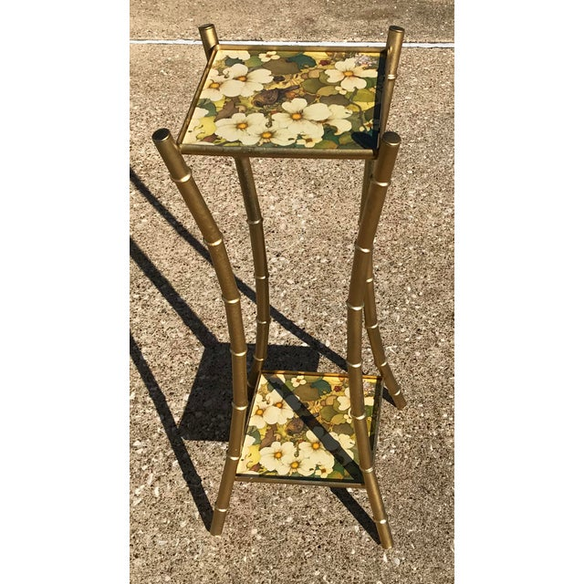 Vintage Faux Bamboo Side Table Plant Stand - Image 4 of 10