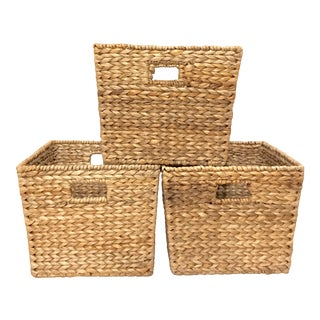 Modern Square Wicker Storage Baskets - Set of 3