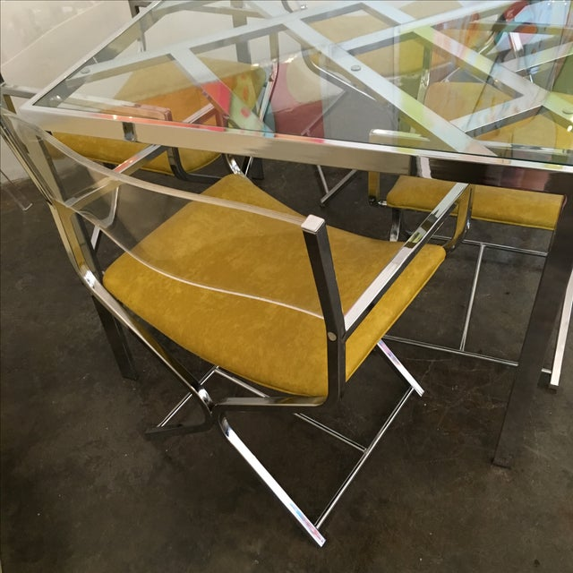 Chrome and Glass Game and or Dining Table and Four Chrome and Lucite Armchairs - Image 5 of 11