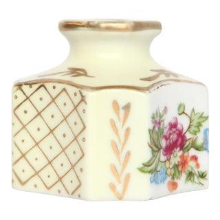 Floral Japanese Porcelain Gold-Leafed Inkwell