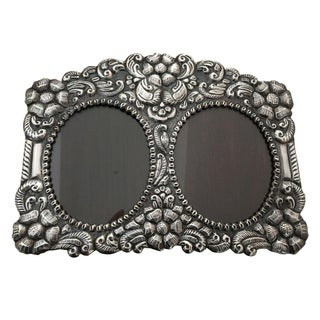 Sterling Silver Repousse Aztec Rose Picture Frame