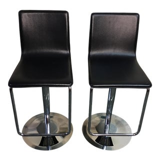 Leather & Polished Steel Adjustable Bar Stools - a Pair