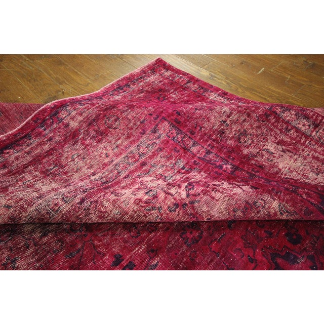 """Pink Overdyed Floral Area Rug - 9'7"""" x 12'2"""" - Image 9 of 10"""