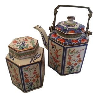 Japanese Chinoiserie Tea Set - A Pair