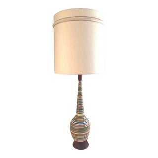 Vintage Colorful Sculpted Walnut Lamp
