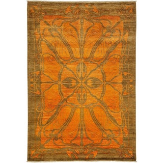"Shalimar, Hand Knotted Orange Wool Area Rug - 5' 1"" X 7' 5"""
