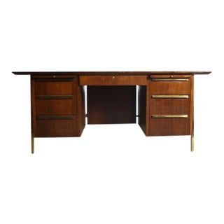 Mid-Century Modern Brass Detailed Walnut Executive Desk
