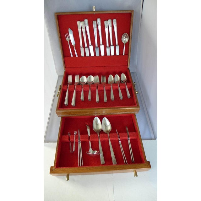 Image of Art Deco Silver Plate Flatware Set for 8