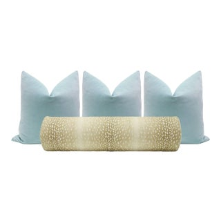 Natural Antelope Bolster and Spa Blue Velvet Pillows - Set of 4