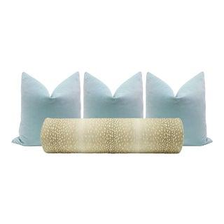 Natural Antelope Bolster and Spa Blue Velvet Pillows - Set of 4