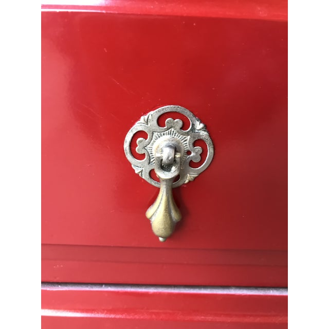 Candy Apple Red Four Drawer Buffet - Image 6 of 8