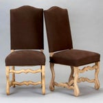 Image of Set of 6 French Os De Mouton Louis XIII Bleached Oak Upholstered Dining Chairs