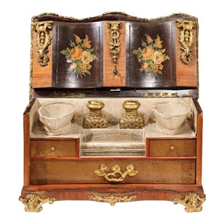 19th Century French Walnut & Marquetry Lady's Vanity Chest