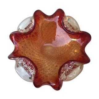 Silver Speckle Cranberry & Orange Murano Dish