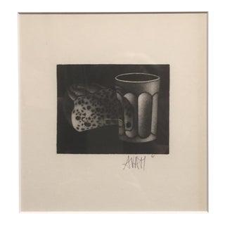1961 Bread and Water Mario Avati Mezzotint Still Life