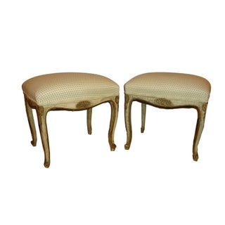 French Painted Stools - A Pair