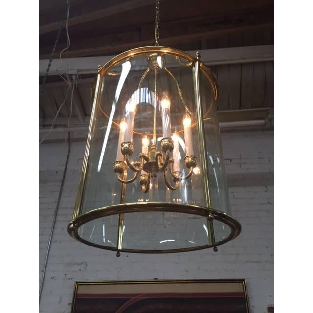Hollywood Regency Glass Brass Hanging Light - Image 5 of 5