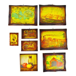 Vintage Carved Wood Decoupage Wall Art Plaques - Group of 8