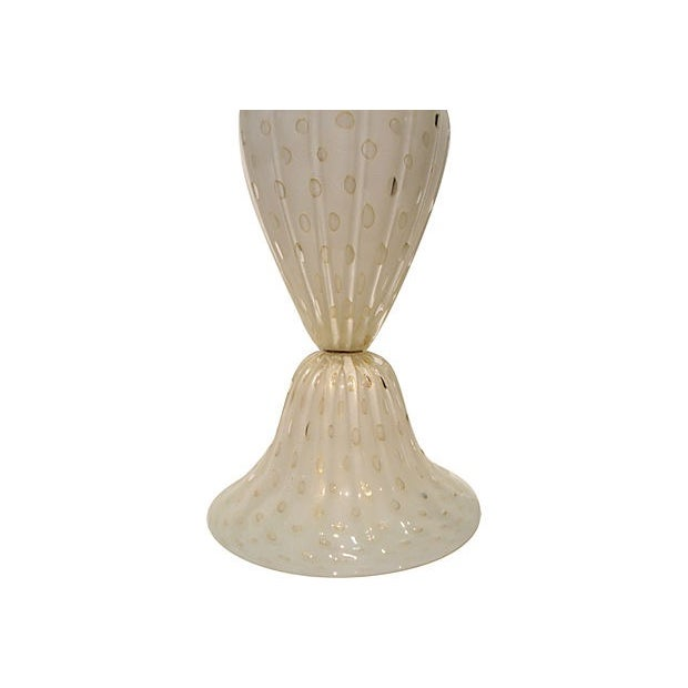 White Murano Art Glass Table Lamp - Image 2 of 7