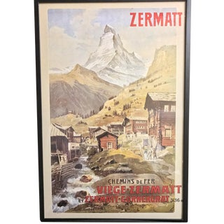 Original Zermatt Swiss Travel Poster