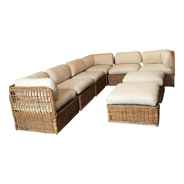 Vintage Rattan Sectional Sofa Set - Image 1 of 11