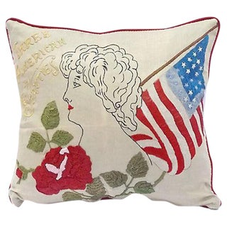 "Antique ""Three American Beauties"" Pillow"