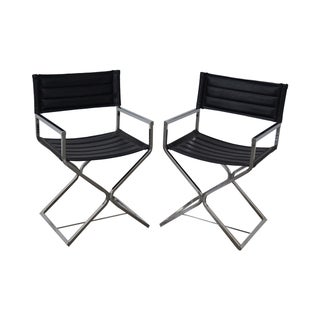 Mid-Century Chrome Frame Directors Chairs - A Pair