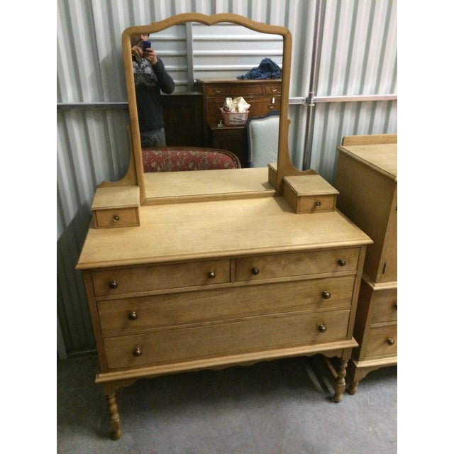 Image of 1940's Solid Wood Dresser with Mirror