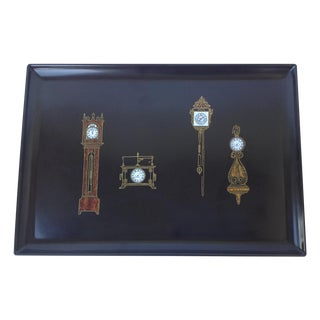 Couroc Vintage Brass & Wood Banded Clocks Tray