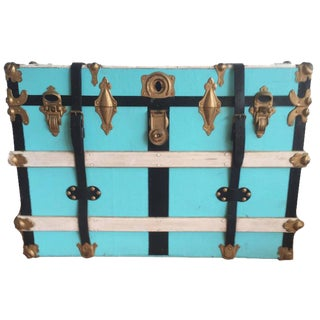 Vintage Leather & Wood Steamer Trunk
