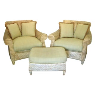 Oversized Wicker Armchairs & Ottoman - A Pair