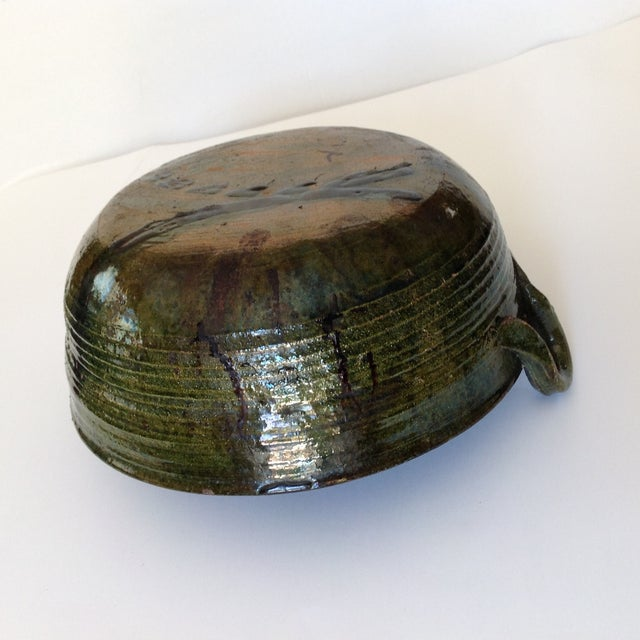 Vintage Rustic Green Studio Pottery Bowl - Image 7 of 9