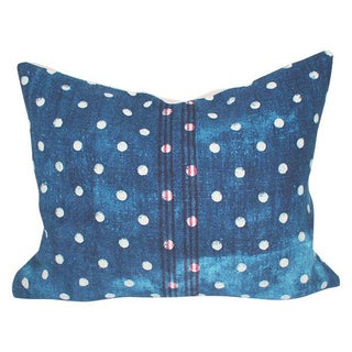 Vintage Polka Dot Indigo Grain Sack Pillow