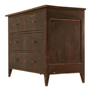 Original Early 1800's Antique Faux Grained Painted Pine 3 Drawer Commode