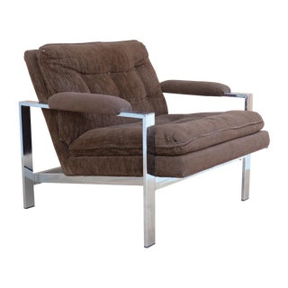 Polished Steel Club Chair with Brown Fabric