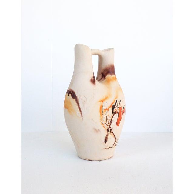 Vintage Nemadji Pottery Orange & Brown Vase - Image 3 of 6