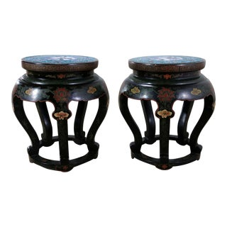 Chinese Cloisonné and Black Lacquered Round Stools or Side Tables - A Pair
