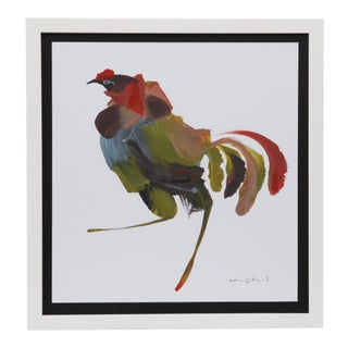 Framed Figurative Rooster Painting