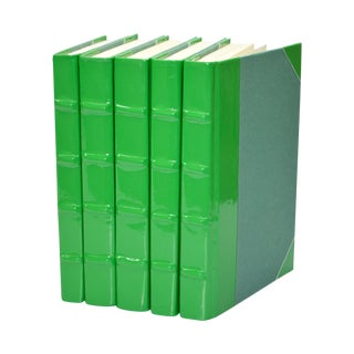 Patent Green Leather Books - Set of 5