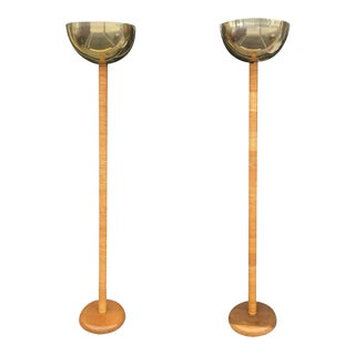 Vintage Bamboo Rattan & Brass Table Floor Lamps - a Pair