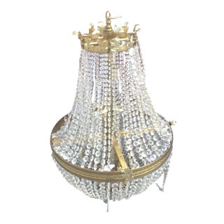 Ornate Crystal and Brass Chandelier
