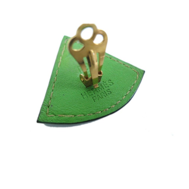 Image of Hermes Green Leather Clip-On Earrings