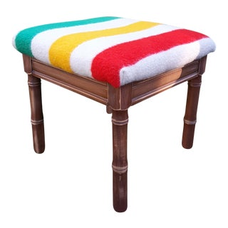 Wool Blanket Upholstered Stool