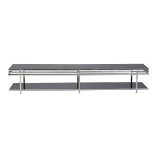Mid Century Long and Low Black Glass and Chrome Coffee Table