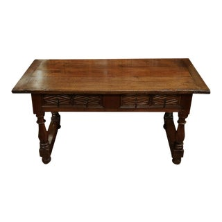 18th Century Spanish Carved Walnut 2-Drawer Turned Legged Console