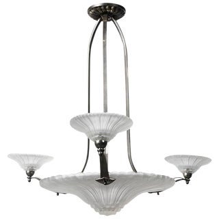 Art Deco Four-Light Satin Glass Chandelier