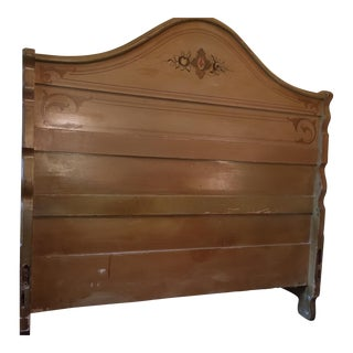 1867 Antique Painted Pine Footboard