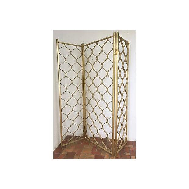 Mid-Century 3 Panel Gold Aluminum Divider - Image 6 of 7