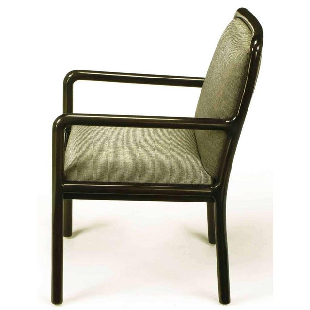 Four Martin Brattrud Ebonized & Upholstered Arm Chairs. - Image 4 of 9