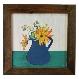 Painting of Blue Jug with Flowers